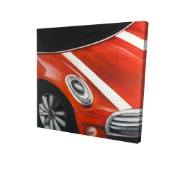 Canvas 24 x 24 - 3D - Red car with white stripes closeup
