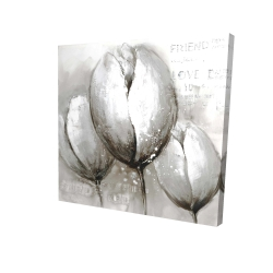 Canvas 24 x 24 - 3D - Three white tulips