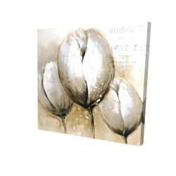 Canvas 24 x 24 - 3D - Three tulips with typography
