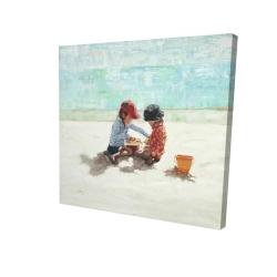 Canvas 24 x 24 - 3D - Little girls at the beach