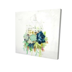 Canvas 24 x 24 - 3D - Bird cage with cactus