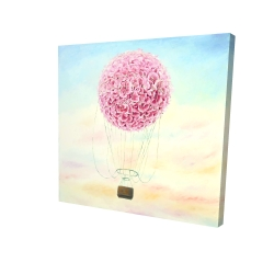 Canvas 24 x 24 - 3D - Hot air balloon hydrangea flowers