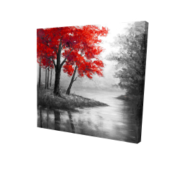 Canvas 24 x 24 - 3D - Red trees and lake