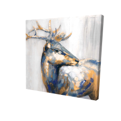 Canvas 24 x 24 - 3D - Golden deer