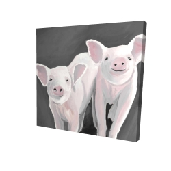 Canvas 24 x 24 - 3D - Two little piglets