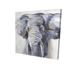 Canvas 24 x 24 - 3D - Pastel blue elephant
