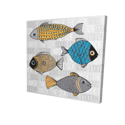 Canvas 24 x 24 - 3D - Fishes' illustration