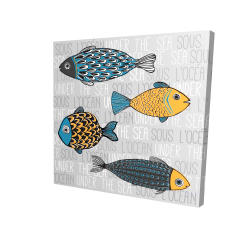 Canvas 24 x 24 - 3D - Illustration of nautical fish