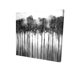 Canvas 24 x 24 - 3D - Abstract forest black and white