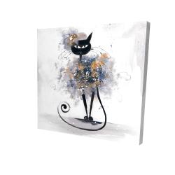 Canvas 24 x 24 - 3D - Cartoon black cat