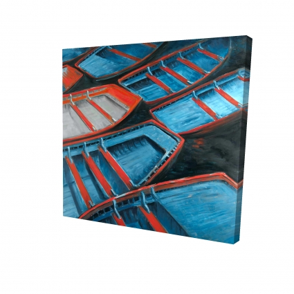 Small blue and red canoes