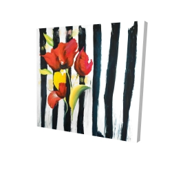 Canvas 24 x 24 - 3D - Red flowers on stripes