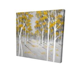 Canvas 24 x 24 - 3D - Yellow birch forest