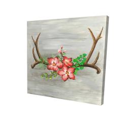 Toile 24 x 24 - 3D - Bois de cerfs et fleurs roses
