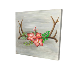 Canvas 24 x 24 - 3D - Deer horns and pink flowers