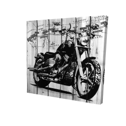 Canvas 24 x 24 - 3D - Motorcycle grey and black