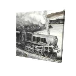 Canvas 24 x 24 - 3D - Vintage passenger locomotive