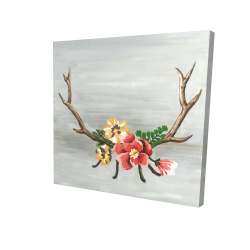 Canvas 24 x 24 - 3D - Deer horns with flowers