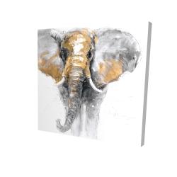 Canvas 24 x 24 - 3D - Golden elephant