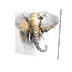 Canvas 24 x 24 - 3D - Beautiful golden elephant
