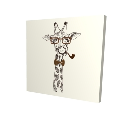 Canvas 24 x 24 - 3D - Funny giraffe with a pipe