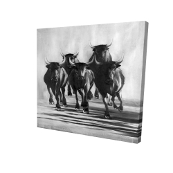 Canvas 24 x 24 - 3D - Group of bulls at galops
