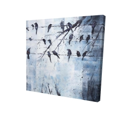 Canvas 24 x 24 - 3D - Abstract birds on electric wire