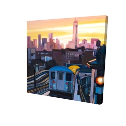 Canvas 24 x 24 - 3D - Sunset over the subway in new-york