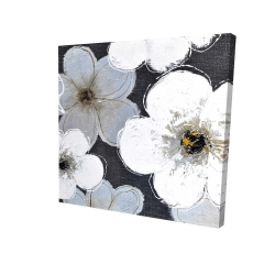 Canvas 24 x 24 - 3D - Gray flowers