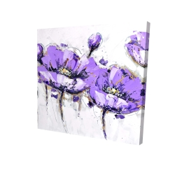 Canvas 24 x 24 - 3D - Abstract purple flowers