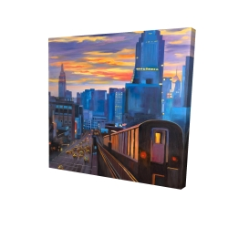 Canvas 24 x 24 - 3D - Subway in new-york city