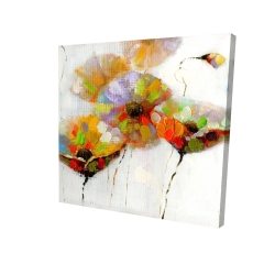 Canvas 24 x 24 - 3D - Color dotted flowers
