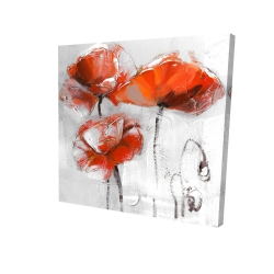 Canvas 24 x 24 - 3D - Red flowers