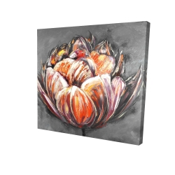 Canvas 24 x 24 - 3D - Double and abstract orange tulip
