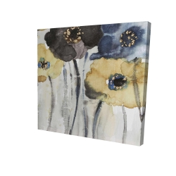 Canvas 36 x 36 - 3D - Gray blue and yellow flowers