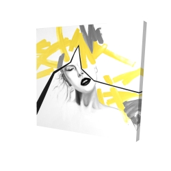 Canvas 24 x 24 - 3D - Woman with yellow line