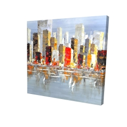 Canvas 24 x 24 - 3D - Colorful buildings with water reflection