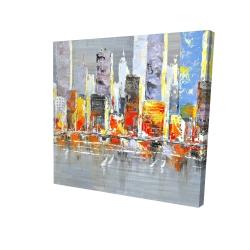 Canvas 24 x 24 - 3D - Color splash cityscape