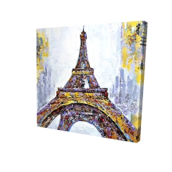 Canvas 24 x 24 - 3D - Abstract paint splash eiffel tower