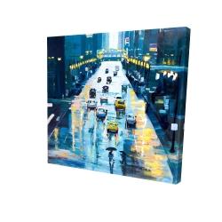 Canvas 24 x 24 - 3D - Rainy streets of new york