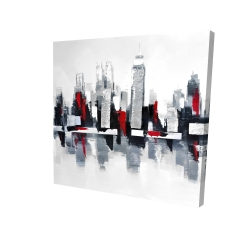 Canvas 24 x 24 - 3D - Gray and red cityscape