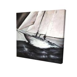 Canvas 24 x 24 - 3D - Boat in a violent storm