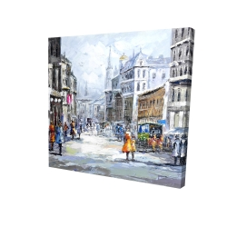 Canvas 24 x 24 - 3D - Busy street by a cloudy day