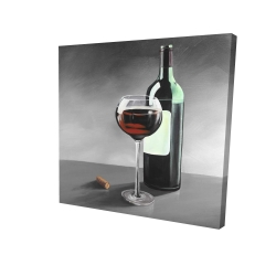 Canvas 24 x 24 - 3D - Bottle of burgundy