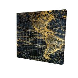 Canvas 24 x 24 - 3D - Blue and marine world map globe