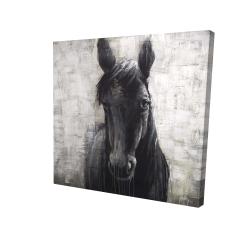 Toile 24 x 24 - 3D - Cheval noir