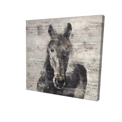 Canvas 24 x 24 - 3D - Abstract horse with typography