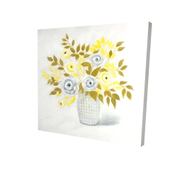 Canvas 24 x 24 - 3D - Blue and yellow flowers in a vase
