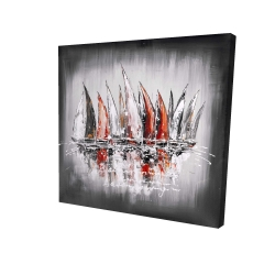 Canvas 24 x 24 - 3D - Sailboats with paint splash