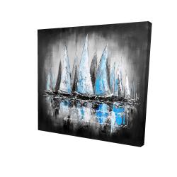 Toile 24 x 24 - 3D -  bateaux bleus avec un message manuscrit